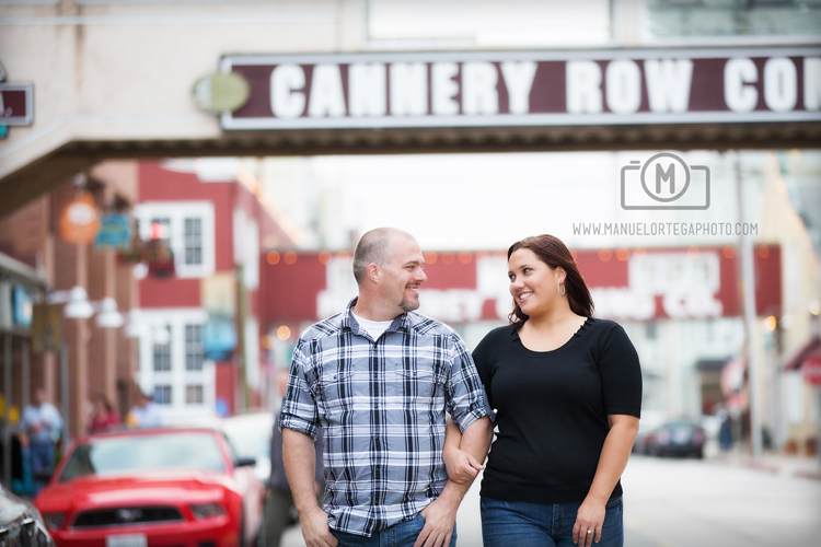 Engaged Couple Walking on Cannery Row